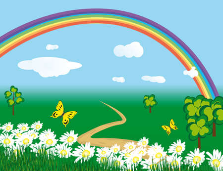 Rainbow over the flowering meadows. illustration Vector