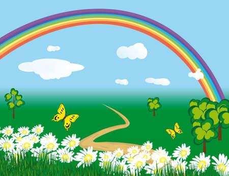 naturism: Rainbow over the flowering meadows. illustration Illustration