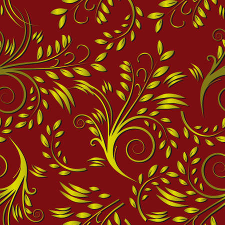 Red seamless background with leaves. Vector illustration Vector
