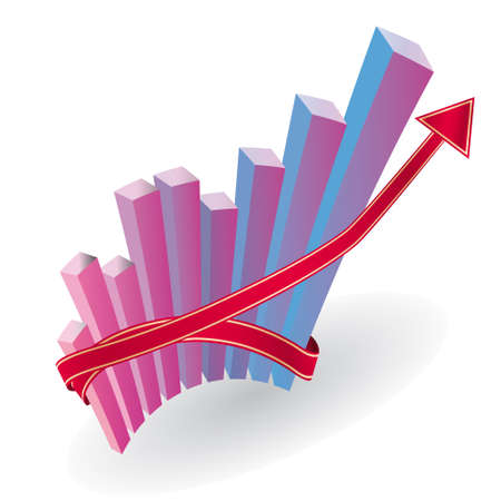 Business graph with an arrow. Vector illustration Stock Vector - 8397035