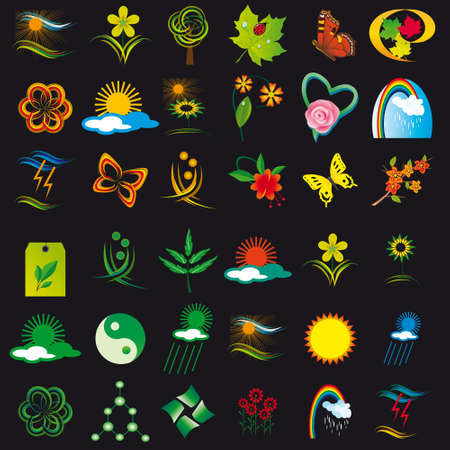 Set of elements of nature. Vector illustration Stock Vector - 8397041