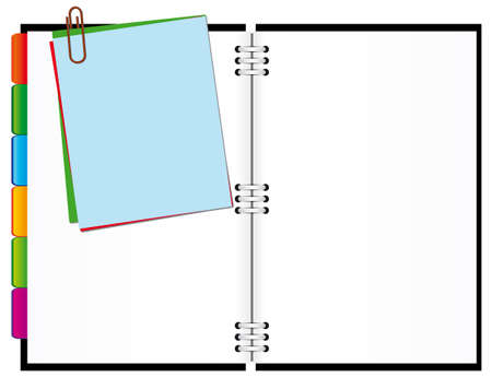 Open notepad with papers for notes. Vector illustration