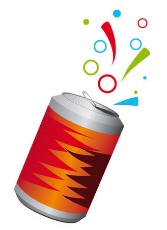carbonated: Aluminum can with a refreshing drink. Vector illustration