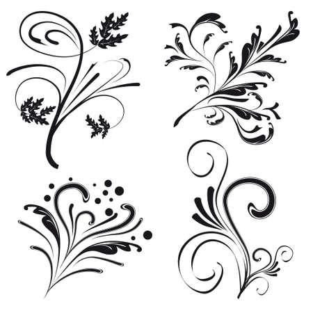 free place: Set of floral design elements. Vector illustration Illustration