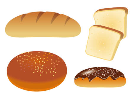 croissants: A set of four icons with bread