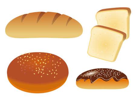 bollos: Un conjunto de cuatro iconos con pan