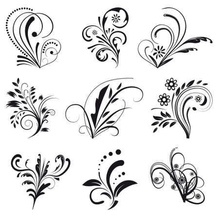 Set of floral design elements  Stock Vector - 8427699