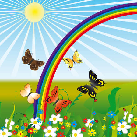 Rainbow and butterflies on flowers  Stock Vector - 8427698