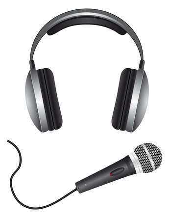 Een aantal microfoons en hoofd telefoon. Vector illustratie