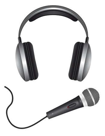 headphones: A set of microphones and headphones. Vector illustration