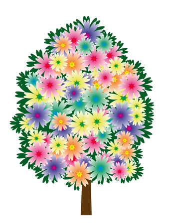 naturism: A tree made of multicolored flowers. Vector illustration