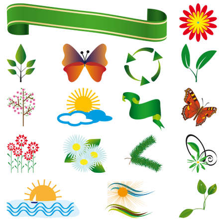 A collection of natural elements for design. illustration Stock Vector - 8457766