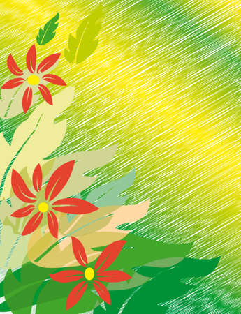 naturism: Red flowers on a green background. Vector illustration
