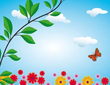 Red butterfly on flowering meadow illustration Stock Vector - 8492850