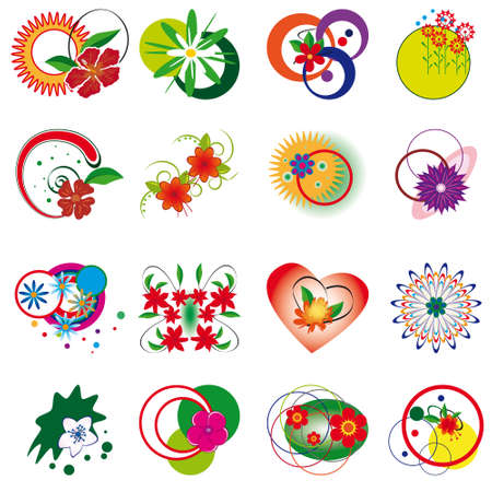 Collection of decorative floral elements. Vector illustration Stock Vector - 8499900