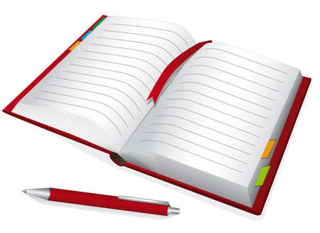 Red notebook with the bookmark.  Vector