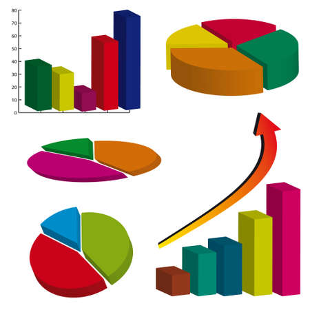 A set of color business charts. illustration Vector