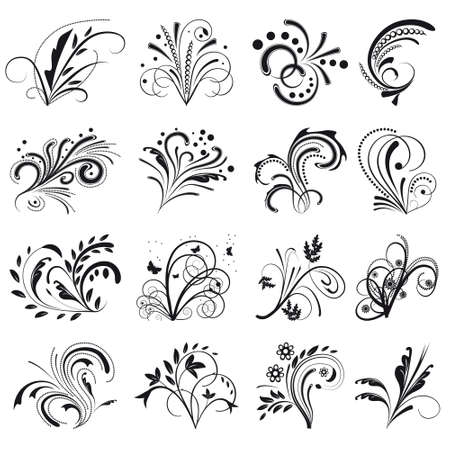Set of floral design elements. illustration Stock Vector - 8582684