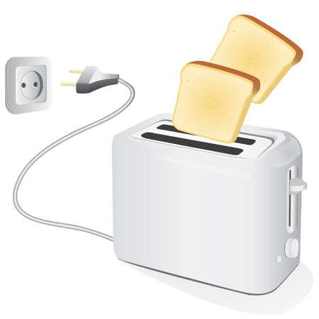 Kunststof elektrische broodrooster met toast. illustratie Vector Illustratie
