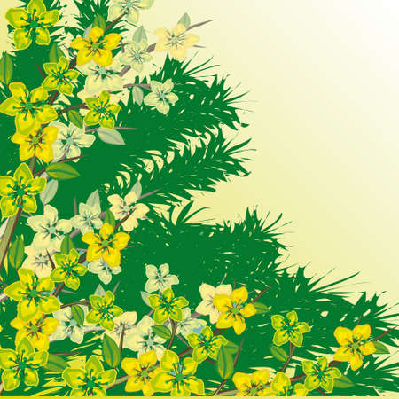 naturism: Flowering branch on a green background. illustration Illustration