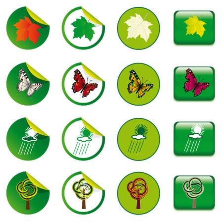 Stickers and buttons with the elements of nature Stock Vector - 8625878
