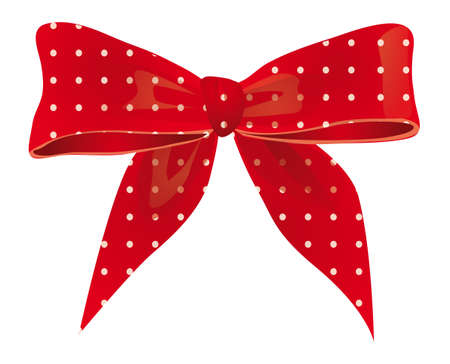 Bow of red ribbon with white spots. illustration Vector