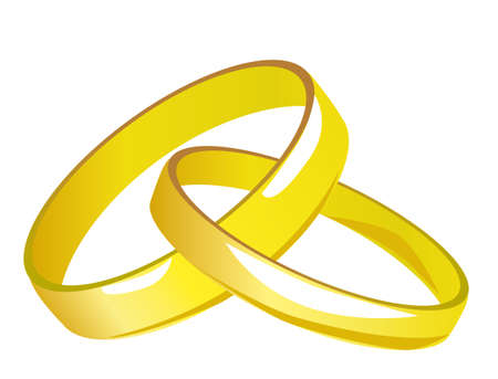 gold rings: Two linked gold wedding rings. illustration