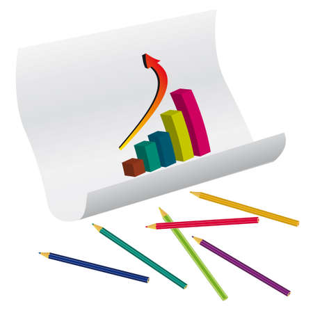 The graph on the paper and pencils.  illustration Vector