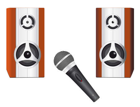 A set of speakers and microphone Stock Vector - 8759014