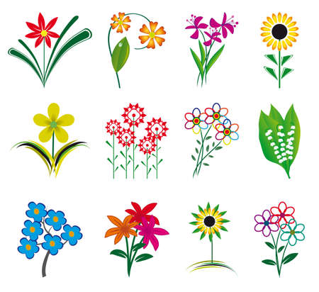 Set of flowers for the design Vector