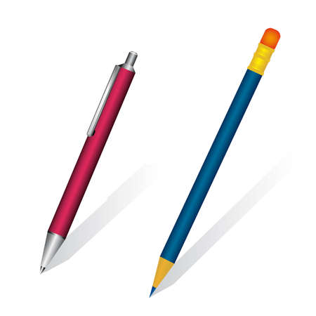 fasteners: A set of pen and pencil. illustration