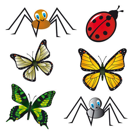naturism: Collection of beautiful isolated insects. Vector illustration Illustration