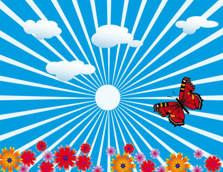 Red butterfly on flowering meadow. Vector illustration Vector