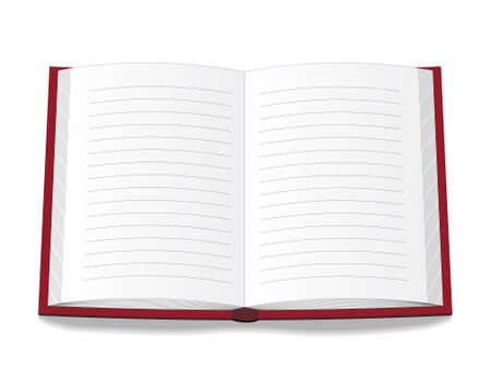 Libro aperto in una copertina rossa. Illustrazione vettoriale