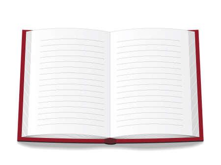 journal intime: Livre ouvert par une couverture rouge. Illustration vectorielle