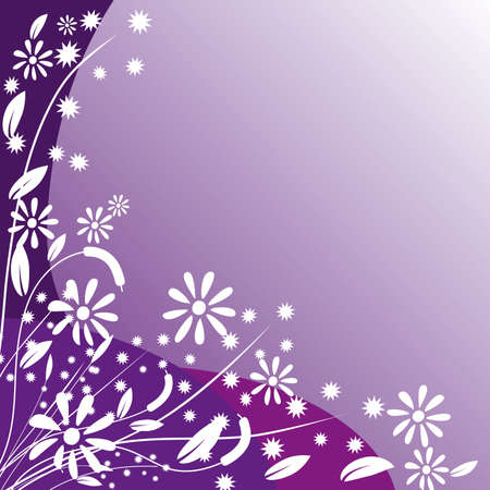 naturism: White flowers on purple background. Vector illustration