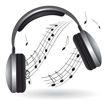 equipo de sonido: El icono con los auriculares. Ilustración vectorial
