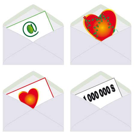 A set of postal envelopes. Vector illustration Vector
