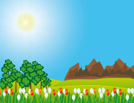 The road through the prairie and mountains. Vector illustration