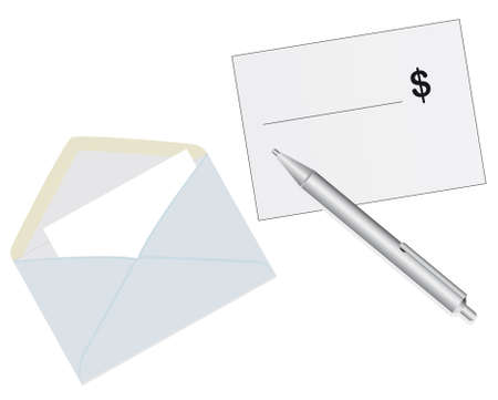 Mailing envelope with cash a check. Vector illustration Vector