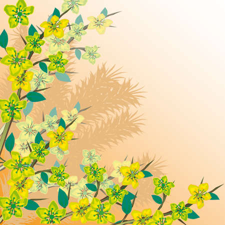 naturism: Flowering branch of a tree. Vector illustration