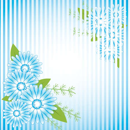 naturism: Abstract background with blue flowers Illustration