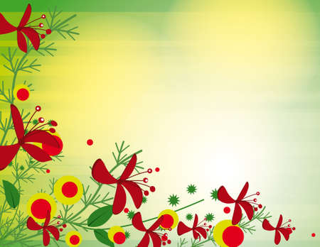 Green background with red flowers.  Vector