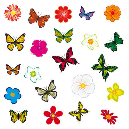 A collection of flowers and butterflies. Stock Vector - 9319690