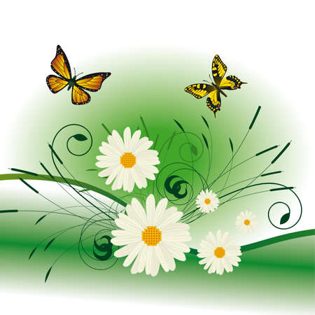 Summer background with butterflies and flowers.