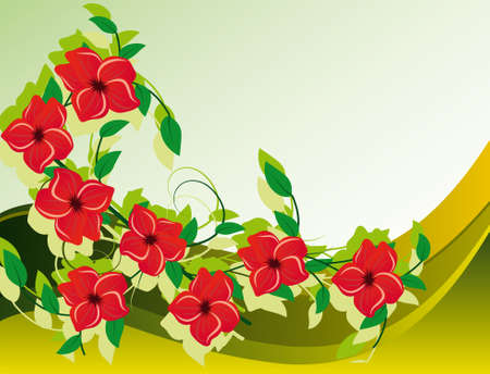 naturism: Abstract background with red flower. Illustration