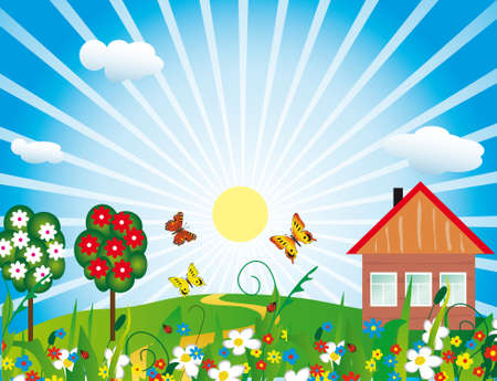 wśród: MaÅ'y domek wÅ›ród kwiaty.