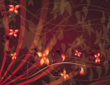 naturism: Abstract red background with flowers. illustration Illustration