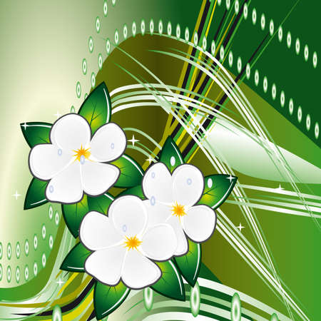 naturism: Abstract green background with flowers. illustration