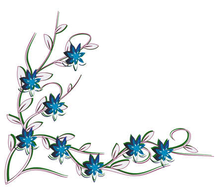 naturism: White background with blue flowers. Vector illustration Illustration